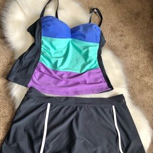 Two pieces bathing suit.